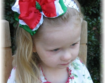 Christmas baby headband, Cinco de Mayo hair bow, Red white green headband, hairbows for girls, hair bows for Christmas, Double Ruffle bows