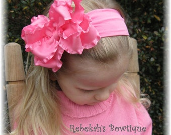Hot pink baby headband, double ruffle bows, infant headbands, large baby headbands, hair bows for girls, little girl hair bows, pink hairbow