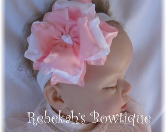 Pink baby headband, white baby headband, pink infant headband, hair bows, Double ruffle hair bows, Girls hair bows, Easter headband, spring