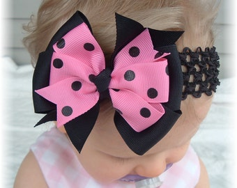 Hot Pink Black Dots Hair Bow Headband Clip Girls Baby Infant Toddler Fall Portrait Boutique Alligator Barrette Accessory