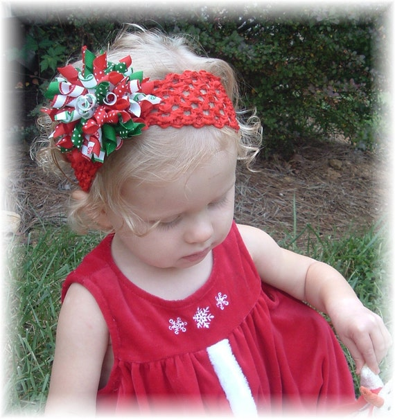Christmas Red Jumbo Korker White Green Hairbow Headband Accessory Infant Toddler Girls Baby Portrait Crocheted Band Bows Clip