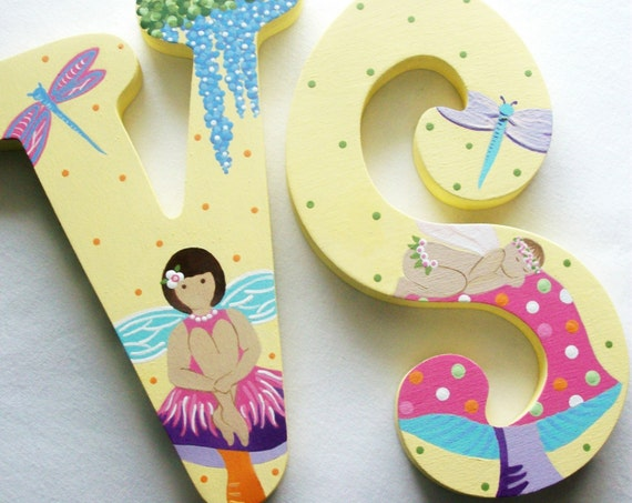 POSH PIXIES Hand Painted Decorative Wooden Wall Letters RESERVED for F