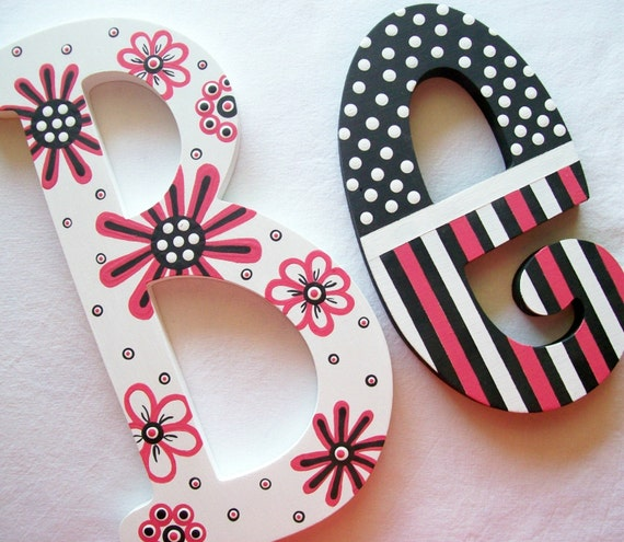 painted wooden letters posh pink painted wooden letters reserved for gracie 23887 | il 570xN.32122170