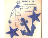 1940s Sailor Suit Applique Set   Middy Set Still in Package Stars Anchors and Braid Blue  Set