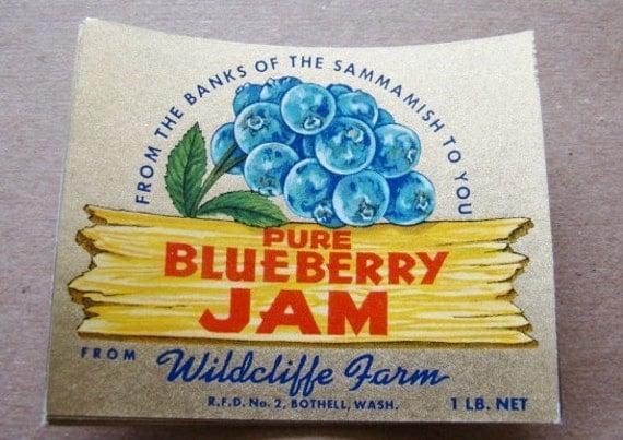 Vintage Label  Wildcliffe Blueberry Jam Label