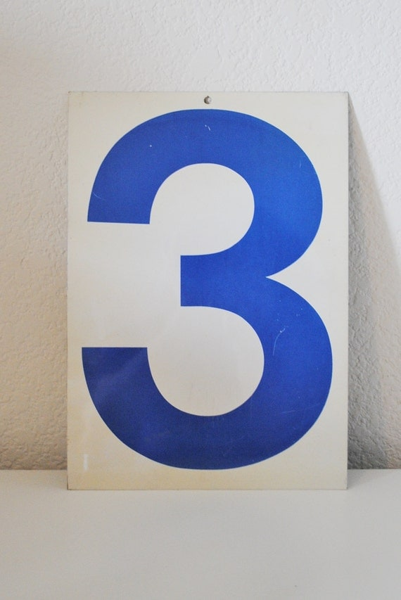 Gas Station Number Three/Eight   Vintage Metal Sign NUMBER TYPOGRAPHY Double Sided Gas Sign