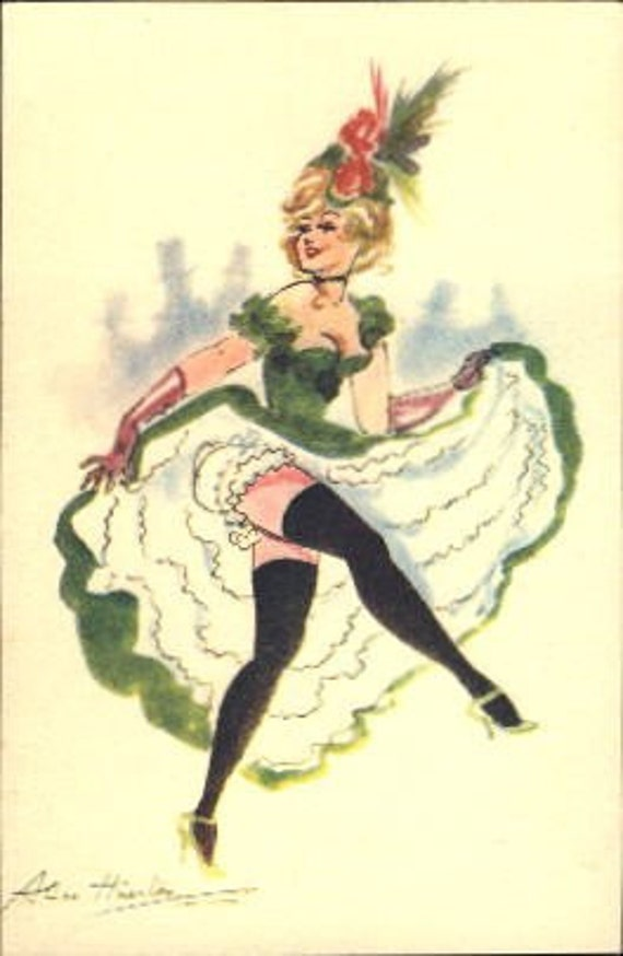 Alice Huertas Can Can Dancers Vintage Postcard Group Six
