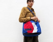 Grey and Red pleats on Blue Messenger Bag