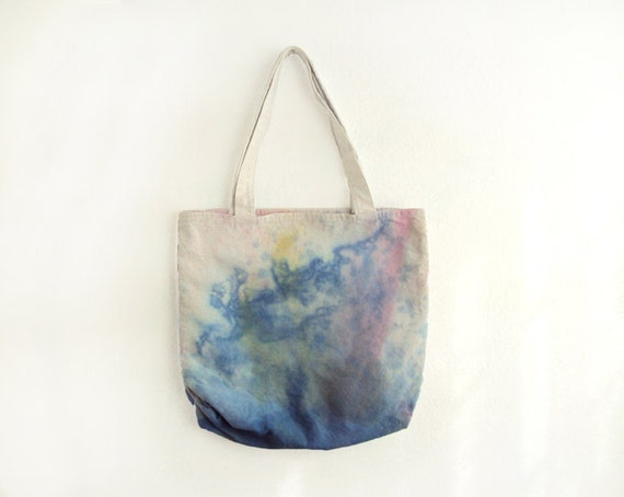 blue, pink and yellow texture canvas tote