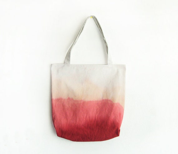 red, coral pink dyed texture canvas tote