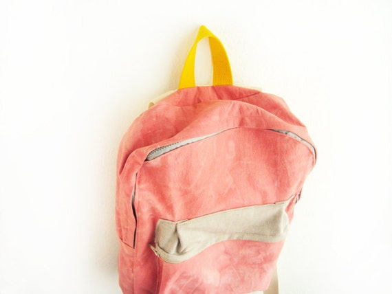 Coral dyed cotton canvas backpack with light grey pouch