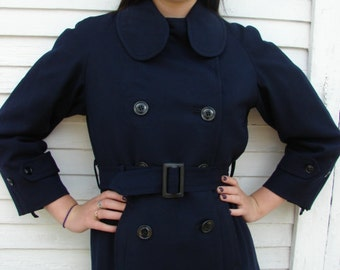 Vintage Blue Wool Double Breasted Military Coat