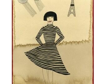 French Art Print, Paris Inspired, Paris Art Print, Eiffel Tower Art Print, Girl From Paris