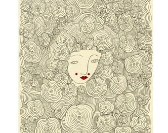 Art Print- Secret Garden, Floral Print, Flower Print, Garden, Flowers, Garden Art Print, Flower Print, Botanical