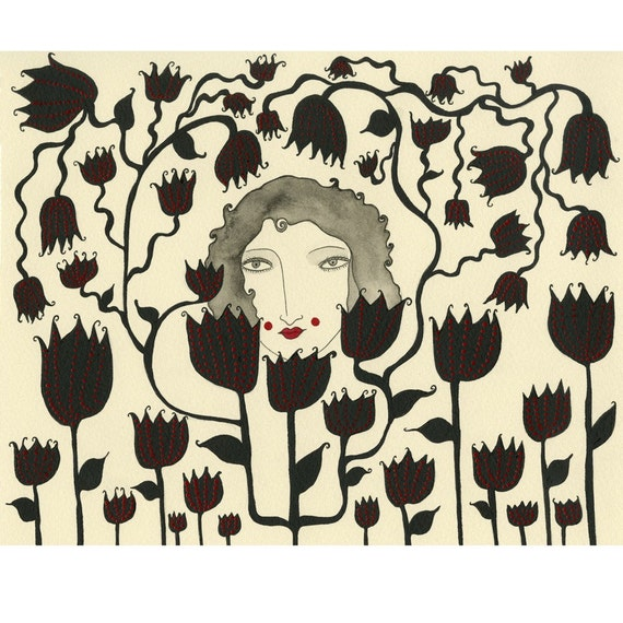 Art Print- Friends With the Flowers, black flowers, botanical print