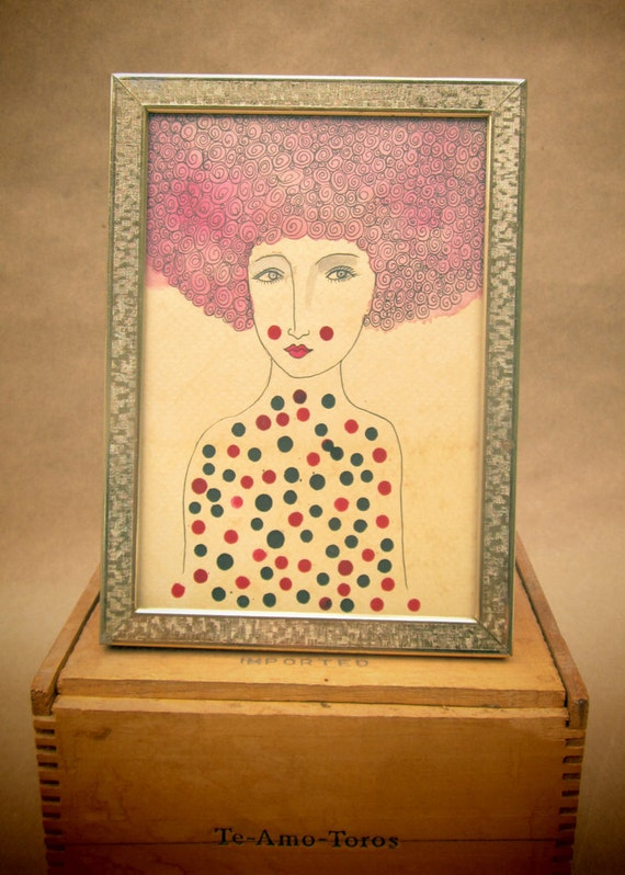 Footloose and Fancy Free- Original Watercolor and Ink Painting-2012. Frame included.