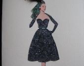 "1950 Fashion illustration  Dior  ""Oblique Line evening dress"" fashion print note card"