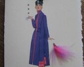 """1920 Fashion illustration   Gustav Beer""""Bishop violet charmeuse Walking Ensemble""""  note card"""