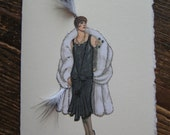 """1925  fashion illustration Louiseboulanger """"Evening Gown and Wrap"""" note card"""