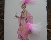 "1924 Fashion illustration Molyneux ""Tea Gown"" note card"