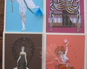 Erte  fashion Illustration note cards set of 4