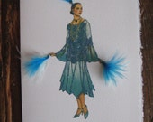 "1925  fashion illustration Vionnet ""Afternoon Dress""  fashion print note card"