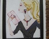 """Barbie vintage fashion illustration""""C'est la vie Barbie"""" note card"""