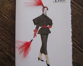 "Christian Dior 1949 Fashion illustration ""Bloused and belted jacket with epaulets""5x7 note card"