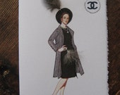 """Coco Chanel 1960 Fashion illustration """"Black suit with checked coat"""" 5x7 note card"""