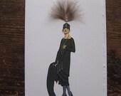"1924 Drecoll fashion illustration ""Black crepe satin Afternoon dress"" 5x7 note card"