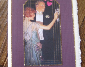 "Card,Art Deco Love and Romance card""Shall We Dance"""