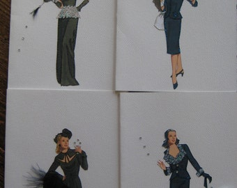 1940's fashion illustration print note cards four to a box
