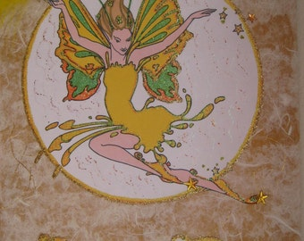 """Yellow fairy """"Sparx """" hanging wooden plaque 9x14"""