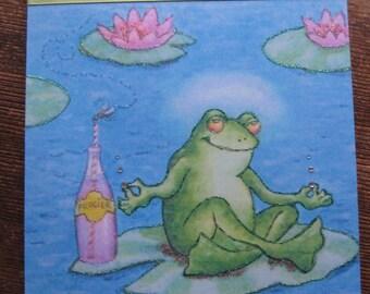 Zen frog wooden plaque 8x10