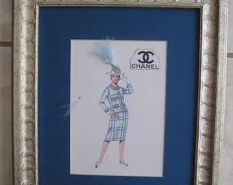 "1964 fashion illustration Coco Chanel ""Nubby -Weave Suit""framed fashion print 10x12"