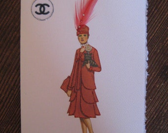 "Coco Chanel  fashion illustration 1926"" Coat and Dress Ensemble"" note card"