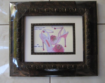 "fashion illustration""Cinderella is proof a pair of shoes can change your life""12x14 framed shoe picture"