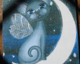 Angel Cat on the moon 8x10 wooden plaque