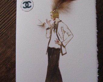 "Coco Chanel Fashion Illustration 1923 ""Classic suit forerunner"" 5x7 note card"