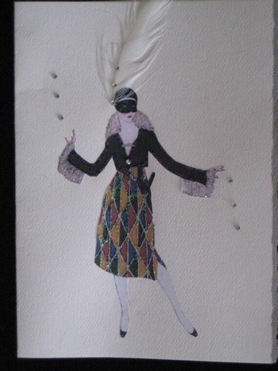 "1914  fashion illustration Fabuit ""Harlequin Mask""  note card"