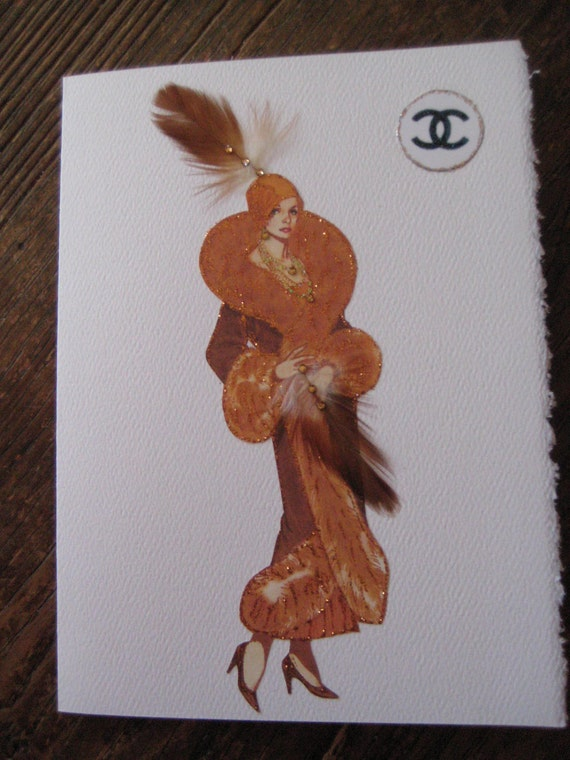 """Coco Chanel fashion illustration 1924 """"Russian Period"""" velvet,dripping with red fox 5x7 note card"""