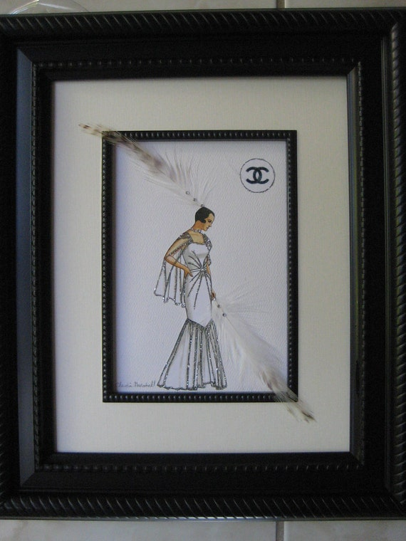 1930 Coco Chanel framed 11x 14  fashion illustrationWhite tulle Sunburst evening gown