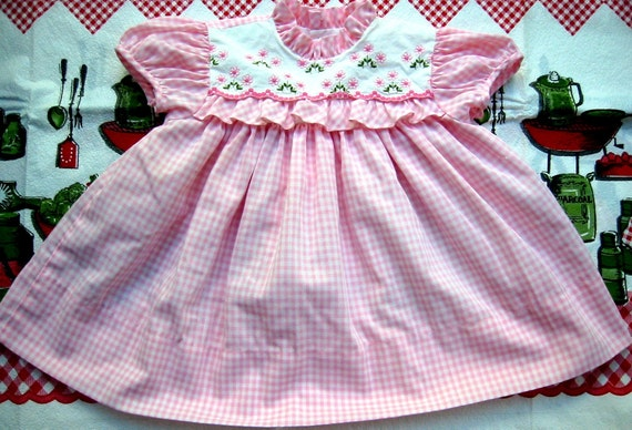 RESERVED Pink Gingham and Flowers Dress 9-12 Months RESERVED