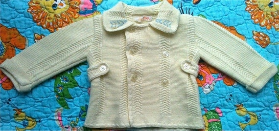 Vintage Baby Sweater Coat 3-6 Months