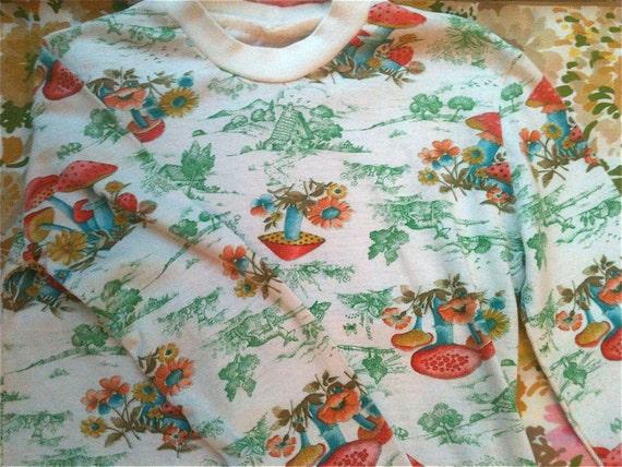 70s Mushroom Shirt Kids 7/8