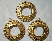 3 Brass Heart Border Pendants with 15mm Cabochon Settings