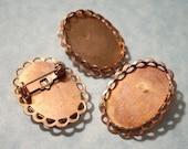 25mm x 18mm Settings - Brooch Blanks 3 pcs Vintage Copper