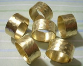 6 Hammered Brass Pattern Wide Rings Adjustable Ring Blanks by Charms Galore