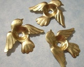 3 Bird Stampings with 10mm Cabochon Settings 32mm x 27mm Brass Birds with Rivet Holes Ring Top Ring Setting