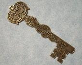 Large Castle Key Stamping, Victorian Key Pendant, Brass Stamping, Skeleton Key, Medieval Key, Focal Point, Brass Key, Gothic Key